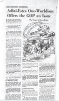 Adlai-Estes One-Worldism Offers the GOP an Issue (Akron Beacon Journal, no date)