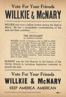 Vote For Your Friends, Willkie and McNary, Political Flyer, no date