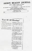Font Of All Blessings (Akron Beacon Journal, August 10, 1968)