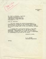 Letter from Benjamin M. Schowe to Paul A. Strachan, President of the American Federation of the Physically Handicapped, Incorporated, September 4, 1952