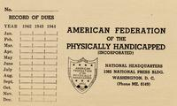 American Federation of the Physically Handicapped, Inc. Dues Record, 1943-1945