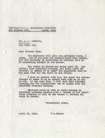 Letter from Benjamin M. Schowe to A.L. Roberts, April 18, 1940
