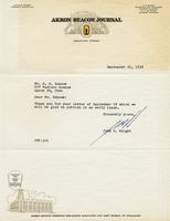 Letter from John S. Knight, Editor of the Beacon Journal, to Benjamin M. Schowe, September 21, 1956