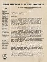 Letter from Washington, D.C. Lodge No. 1 of the American Federation of the Physically Handicapped to all the Deaf, and their friends, in the United States, December 11, 1942.