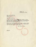 Letter from Benjamin M. Schowe to H.G. Watkins, January 29, 1934